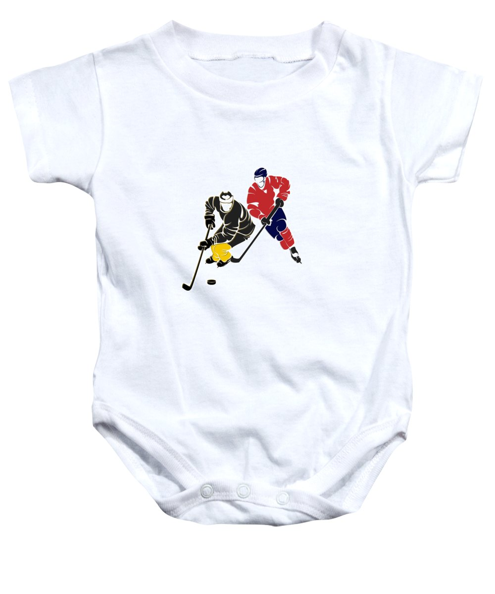 Penguins Baby Onesie featuring the photograph Rivalries Penguins And Capitals by Joe Hamilton