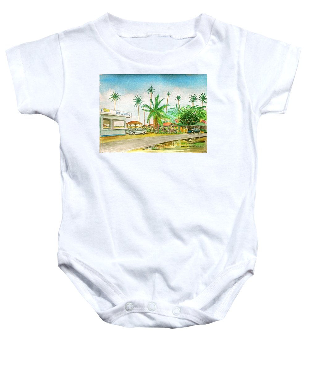 Los Pinos Isla Verde Puerto Rico Food Stands Beach Palm Trees Baby Onesie featuring the painting Roadside Food Stands Puerto Rico by Frank Hunter