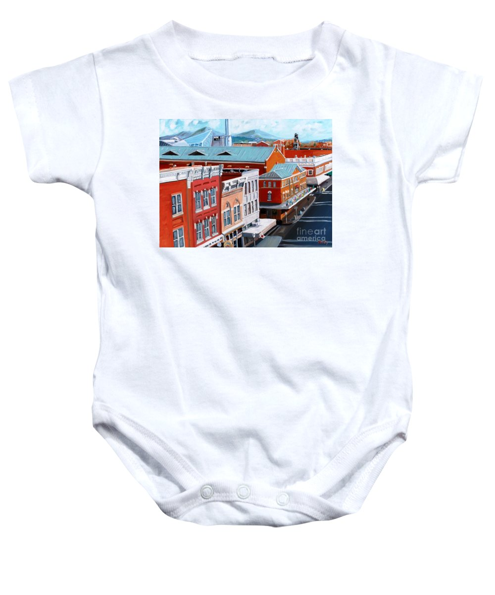 Roanoke Virginia Baby Onesie featuring the painting Roanoke City Market by Todd Bandy