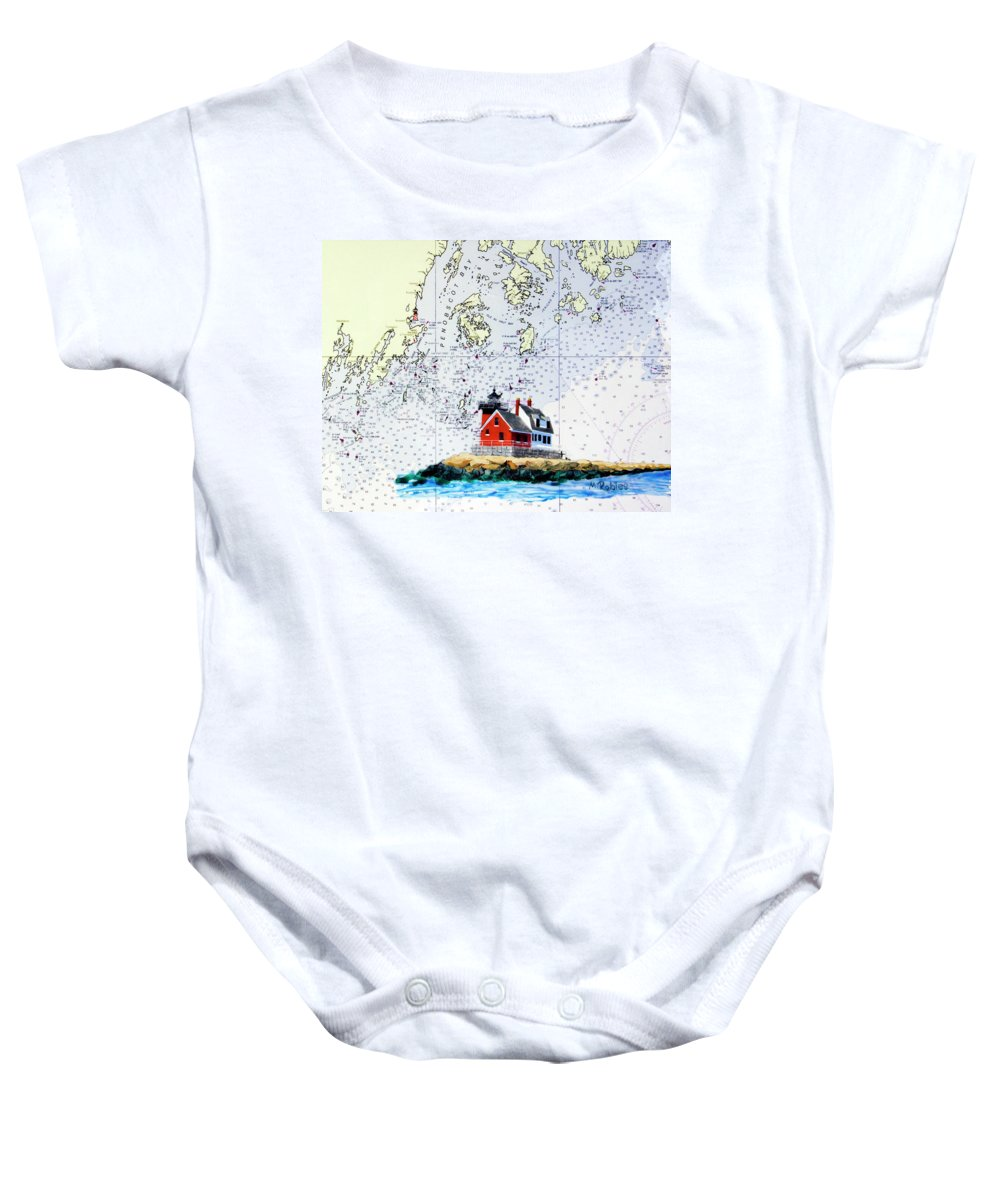 Rockland Baby Onesie featuring the painting Rockland Breakwater Light by Mike Robles