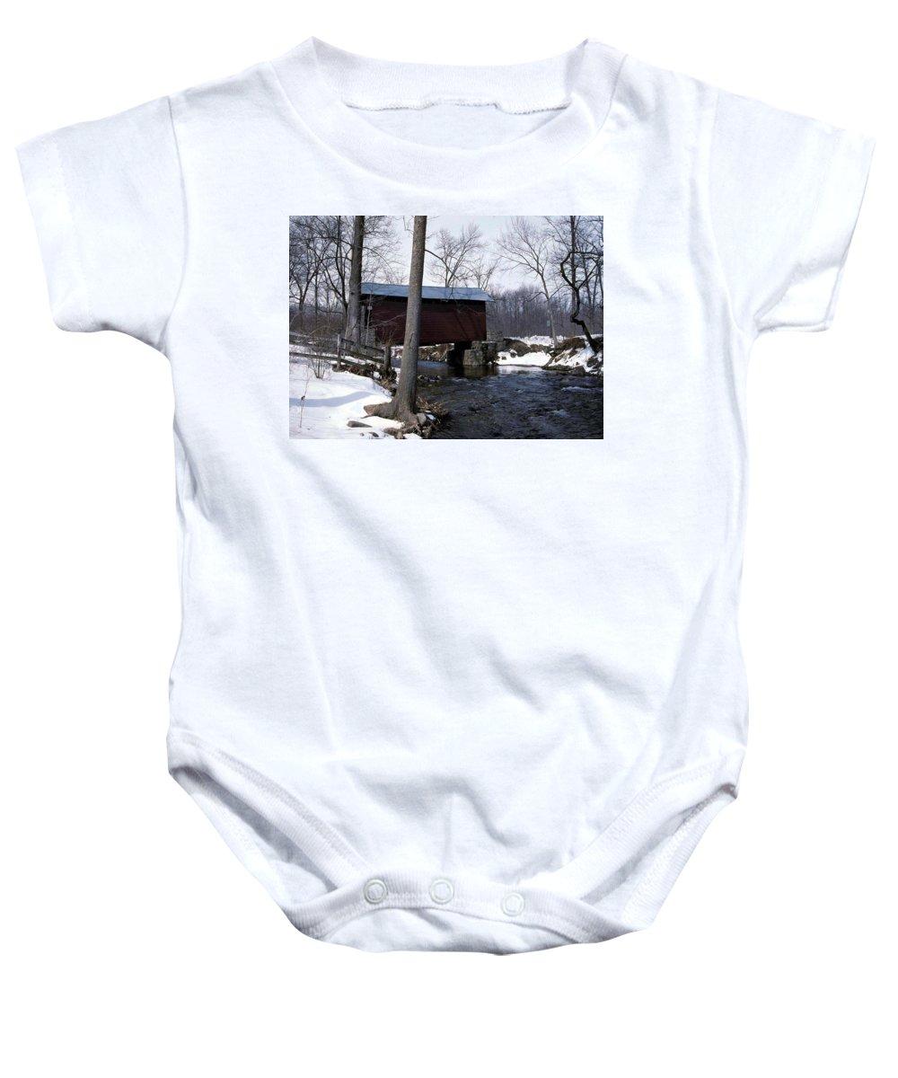 Roddy Bridge Baby Onesie featuring the photograph Roddy Bridge by Skip Willits