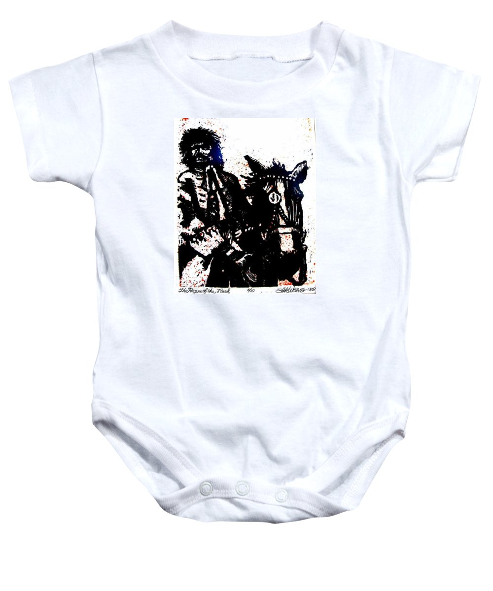 English Highwayman Baby Onesie featuring the mixed media Rogue Of The Road by Seth Weaver