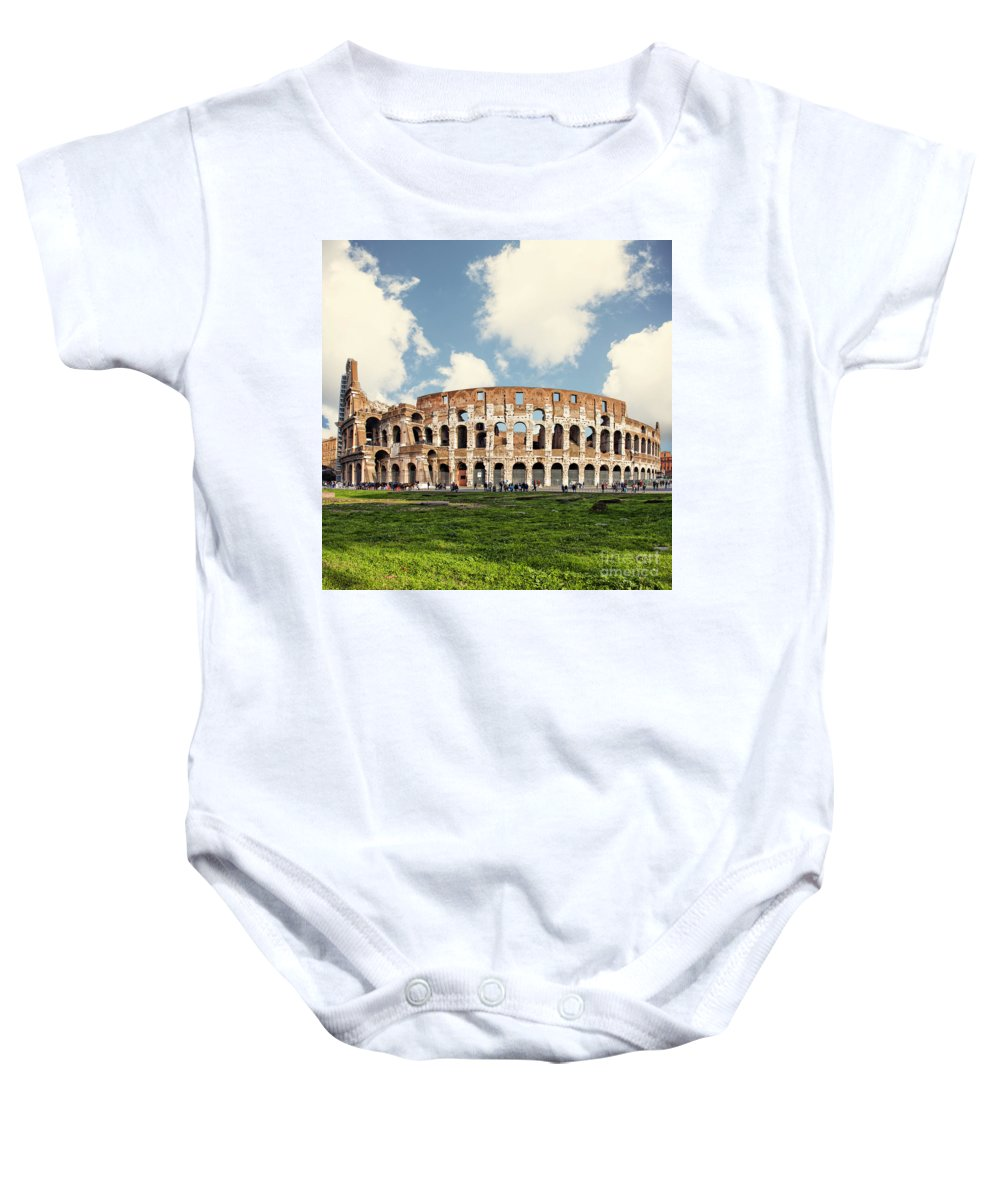 Rome Baby Onesie featuring the photograph Rome Colosseum by Sophie McAulay