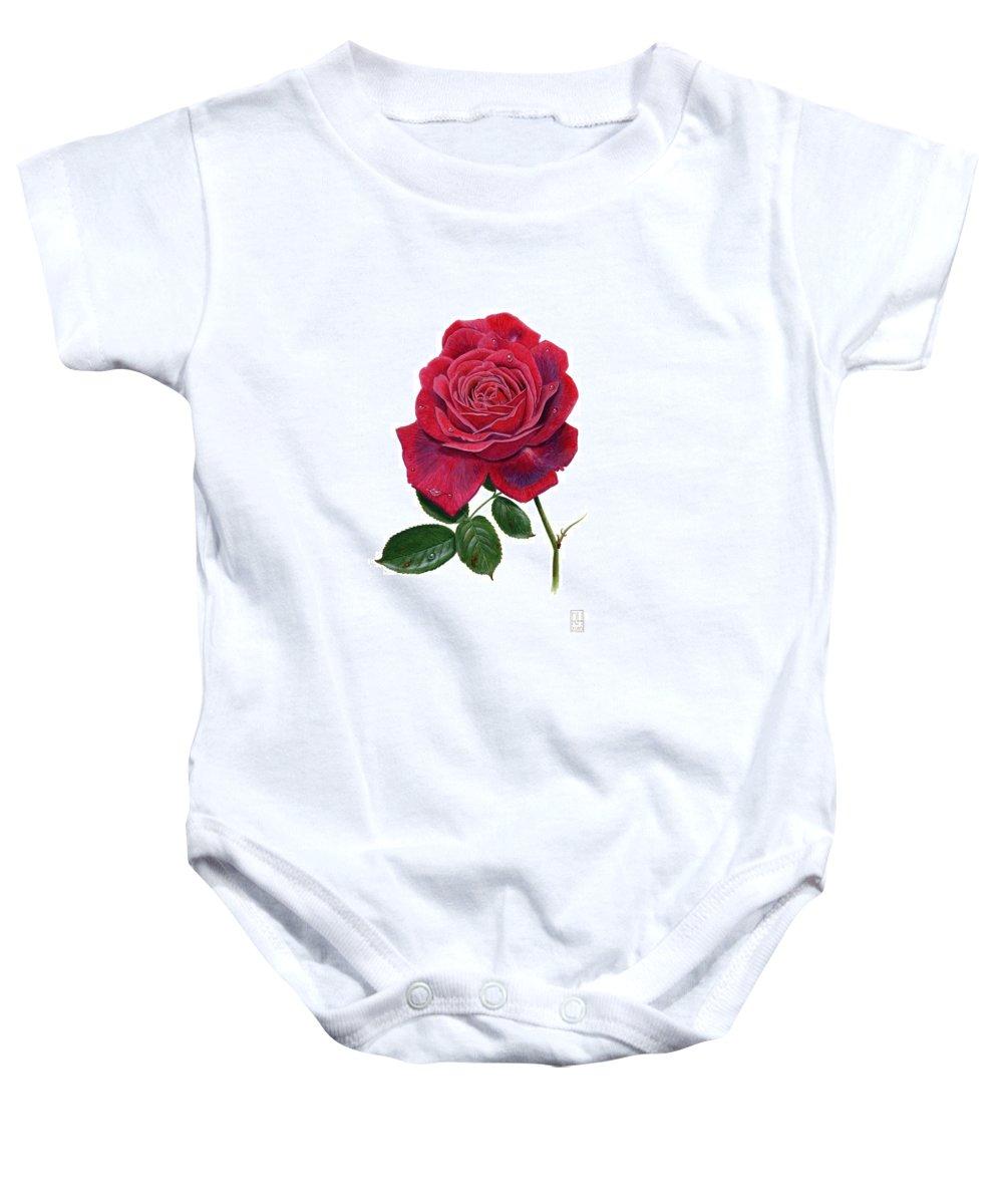 Rose Baby Onesie featuring the painting Rose 1 by Richard Harpum