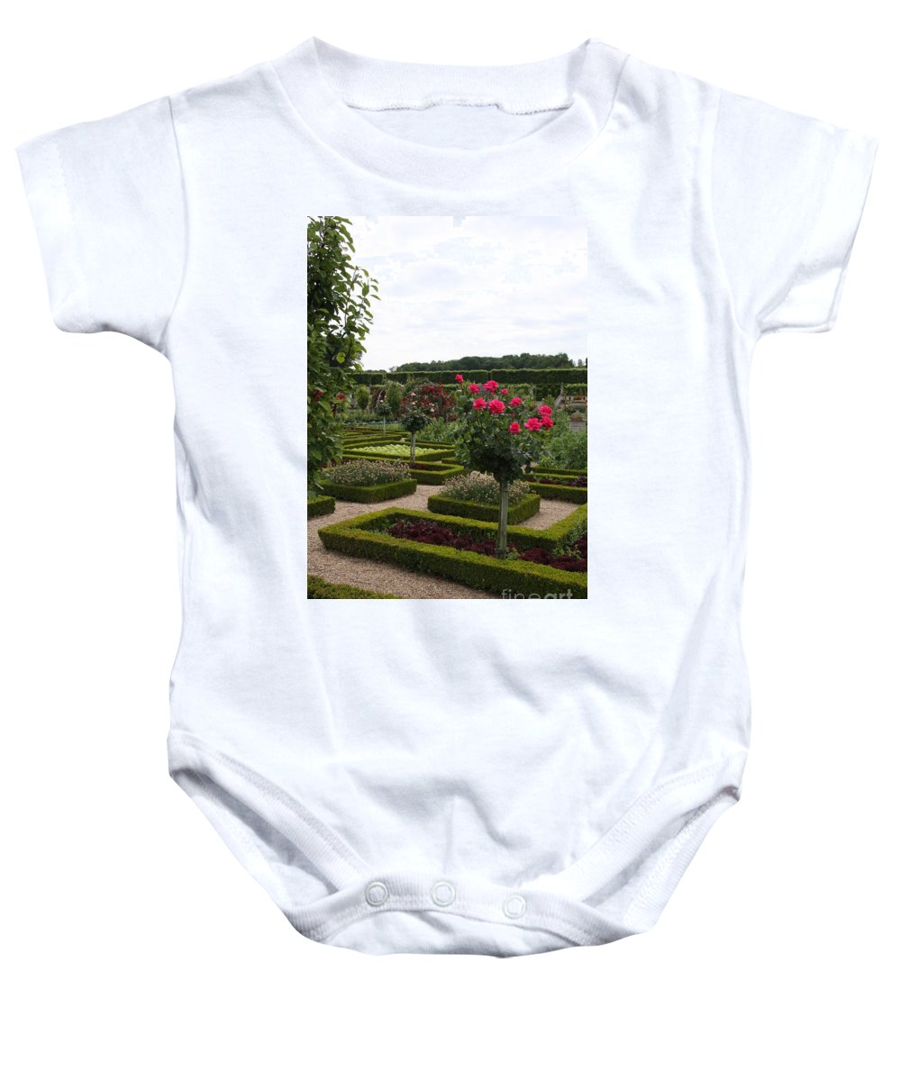 Roses Baby Onesie featuring the photograph Roses And Cabbage - Chateau Villandry by Christiane Schulze Art And Photography