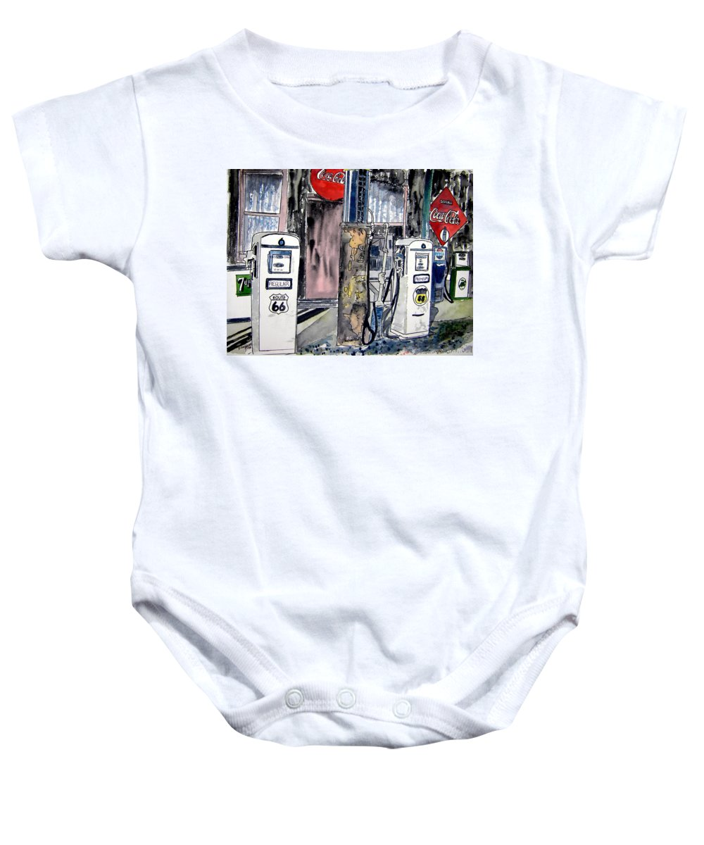 Watercolor Baby Onesie featuring the painting Route 66 Gas Station by Derek Mccrea