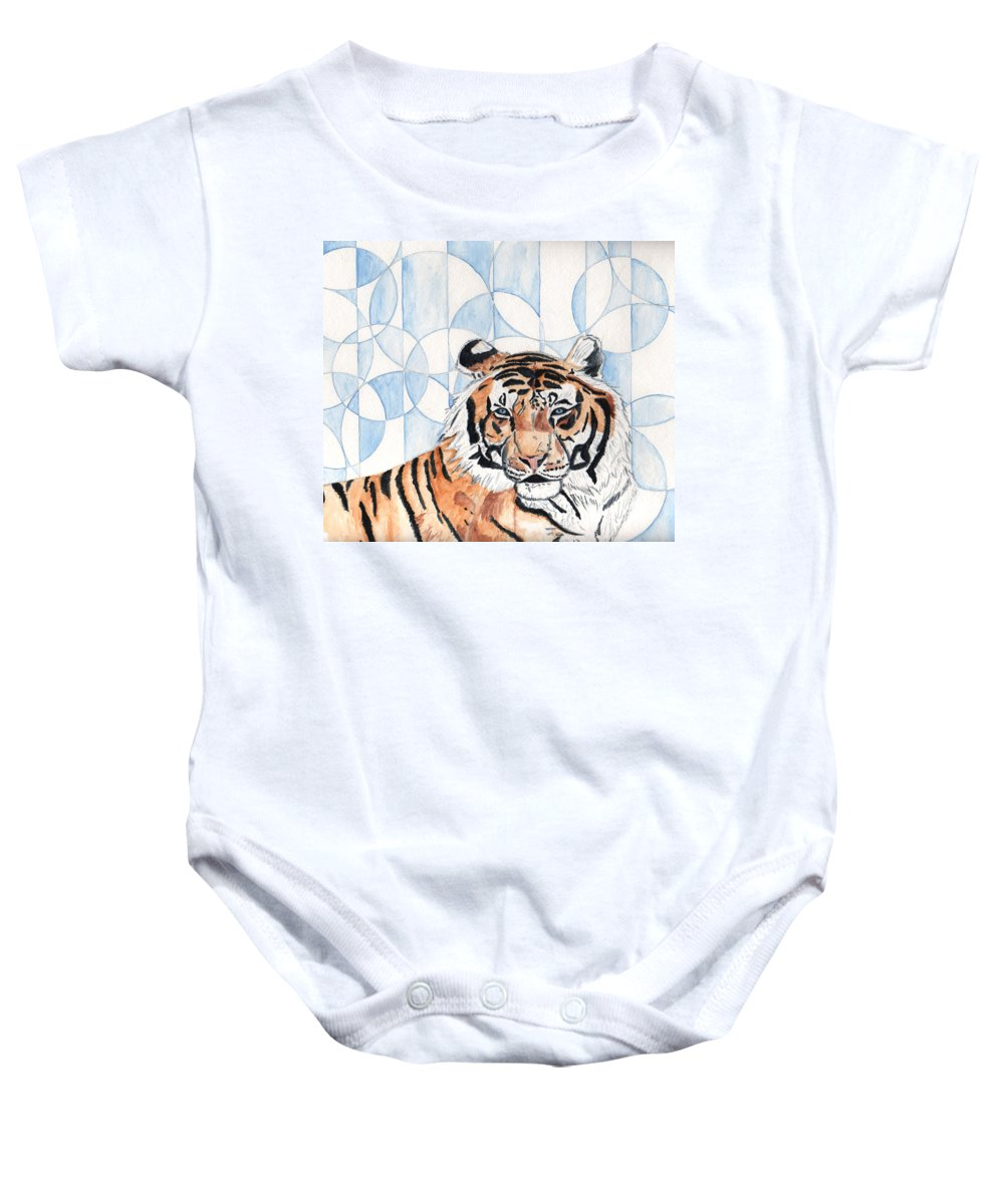 Tiger Baby Onesie featuring the painting Royal Mysticism by Crystal Hubbard