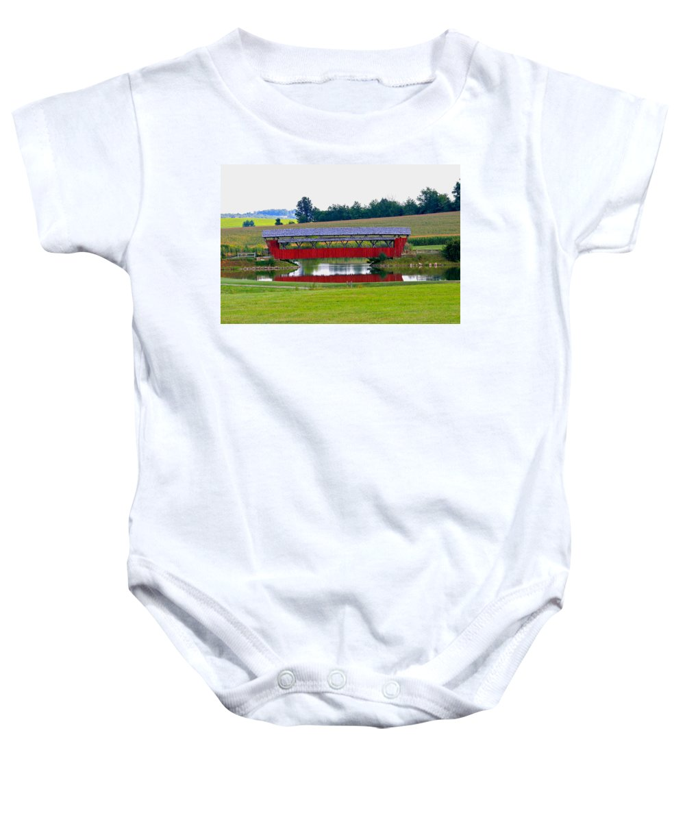 Architecture Baby Onesie featuring the photograph Ruffner Covered Bridge by Jack R Perry