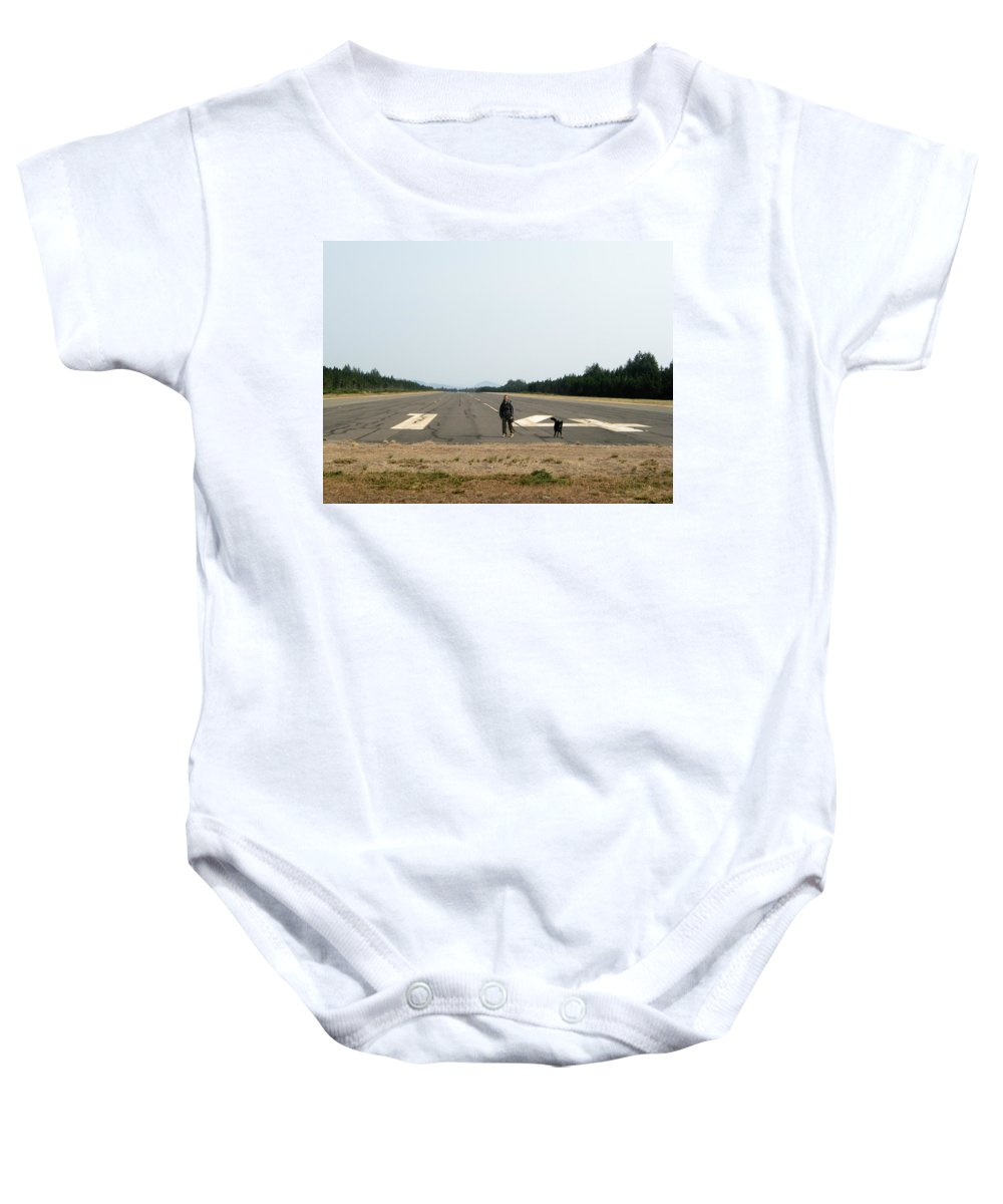 Dog Baby Onesie featuring the photograph Runway 14 by Helix Games Photography