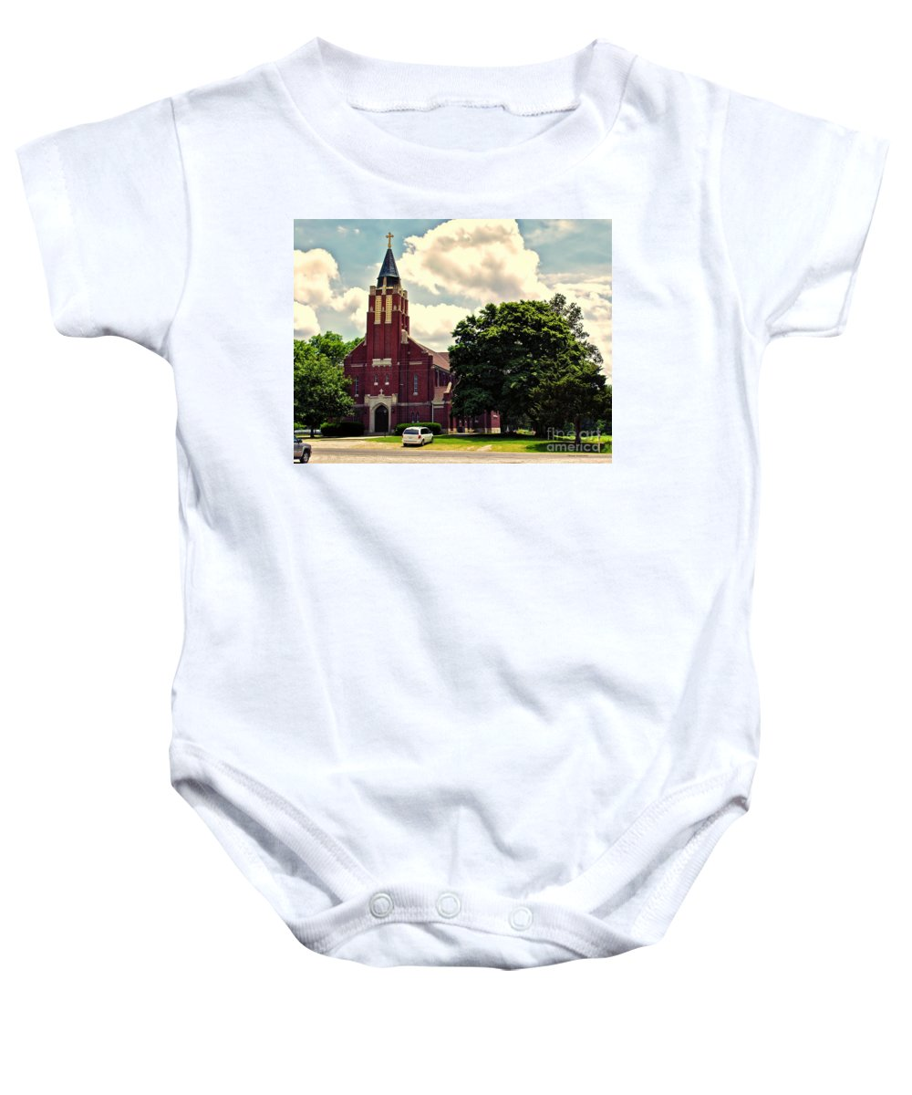Cities Baby Onesie featuring the photograph Rural Church Usa by Thomas Woolworth