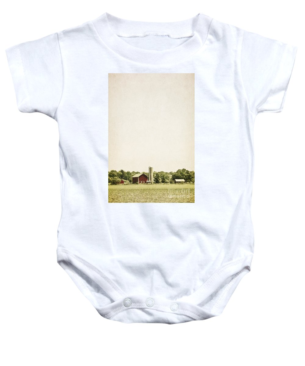 Old; Farm; Barn; Rural; Red; Fall; Landscape; Outside; Outdoors; Country; Countryside; Sky; Distance; Grass; Field; Silo; Trees; Empty; No One Baby Onesie featuring the photograph Rural Farmland by Margie Hurwich