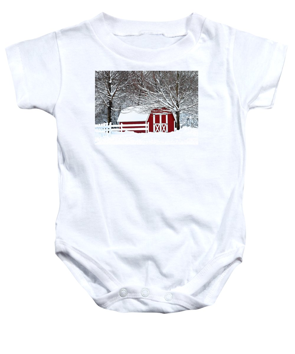 Farm Baby Onesie featuring the photograph Rural Living by Frozen in Time Fine Art Photography