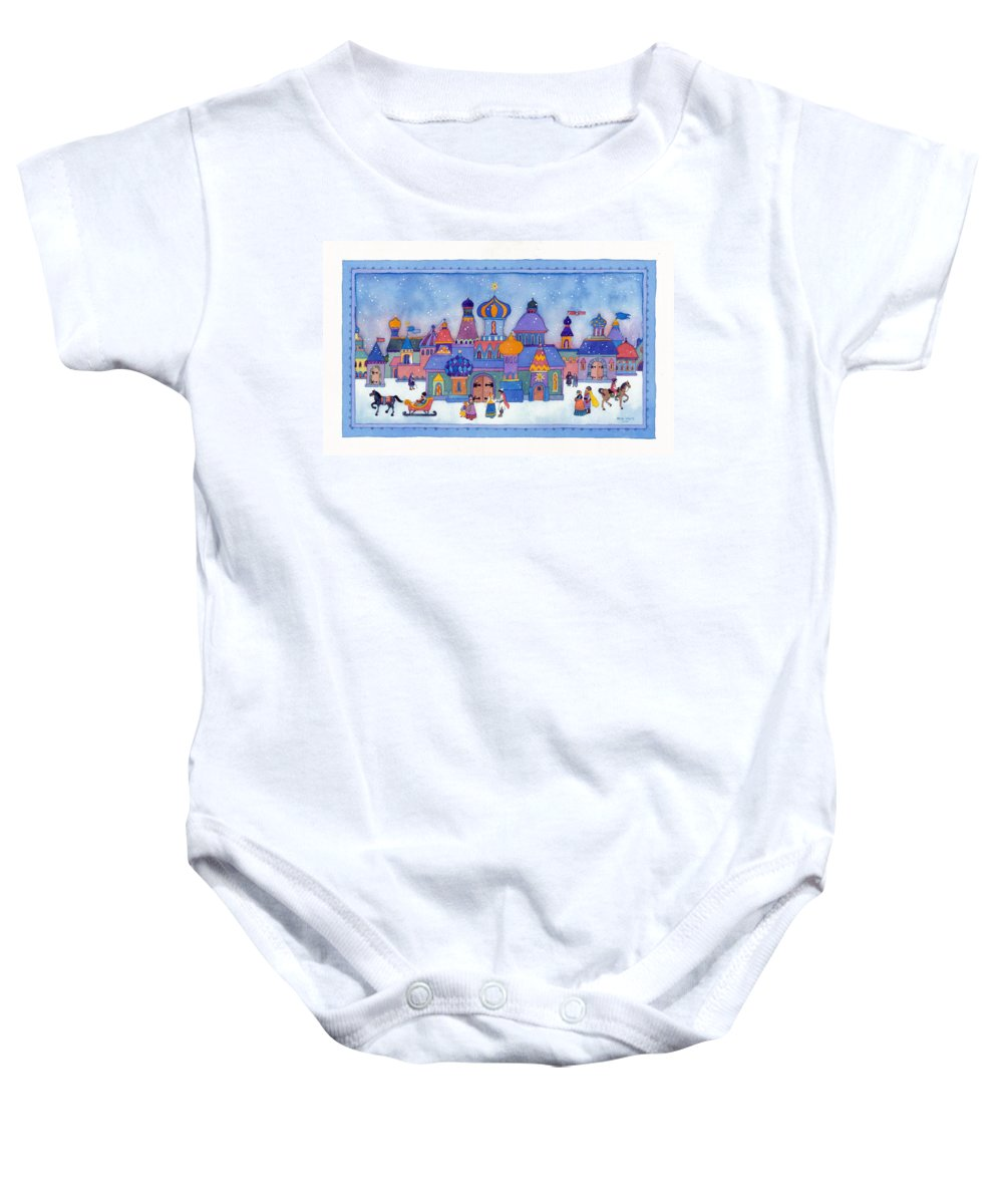 Baby Onesie featuring the painting Russian Snowfall Fantasy by Heidi White
