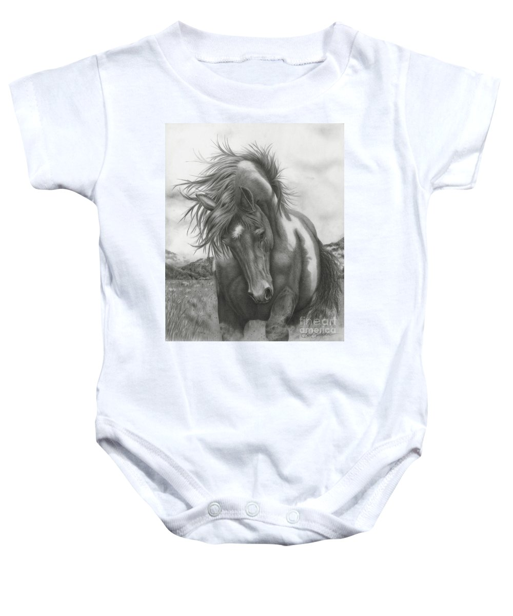 Equine Art Baby Onesie featuring the drawing Sacred Stomping Grounds by Barb Schacher