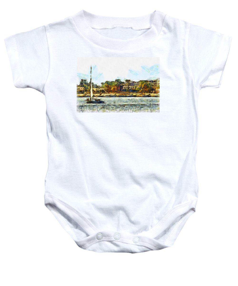 Nile Baby Onesie featuring the photograph Sailing On The Nile by Sophie McAulay