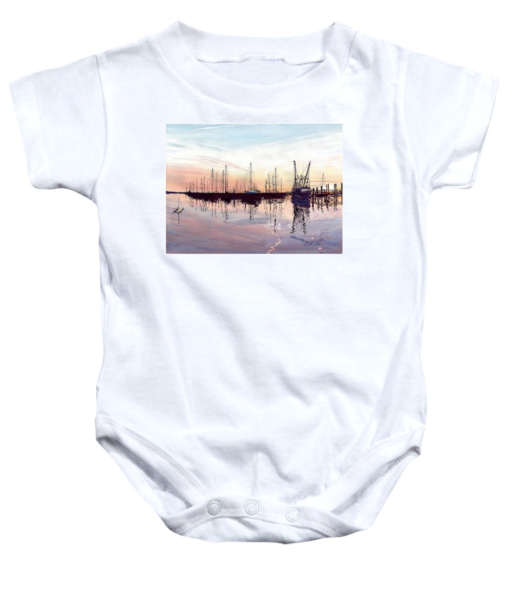 Fiery Sunset Baby Onesie featuring the painting Saint Marys Marina  Shadows Light And Fire by Joel Deutsch
