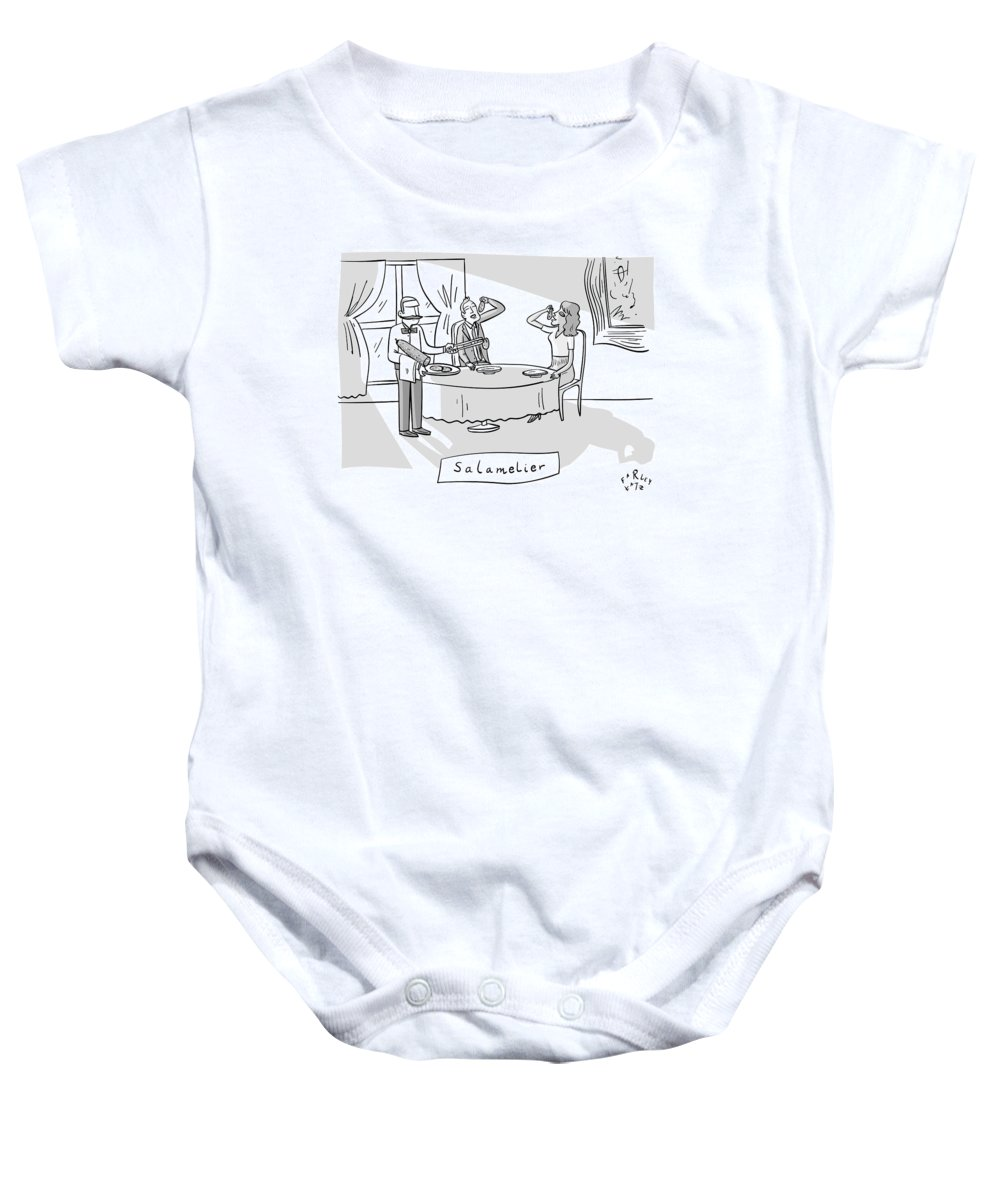 Captionless Baby Onesie featuring the drawing Salamlier -- A Waiter Slices Salami For Two by Farley Katz