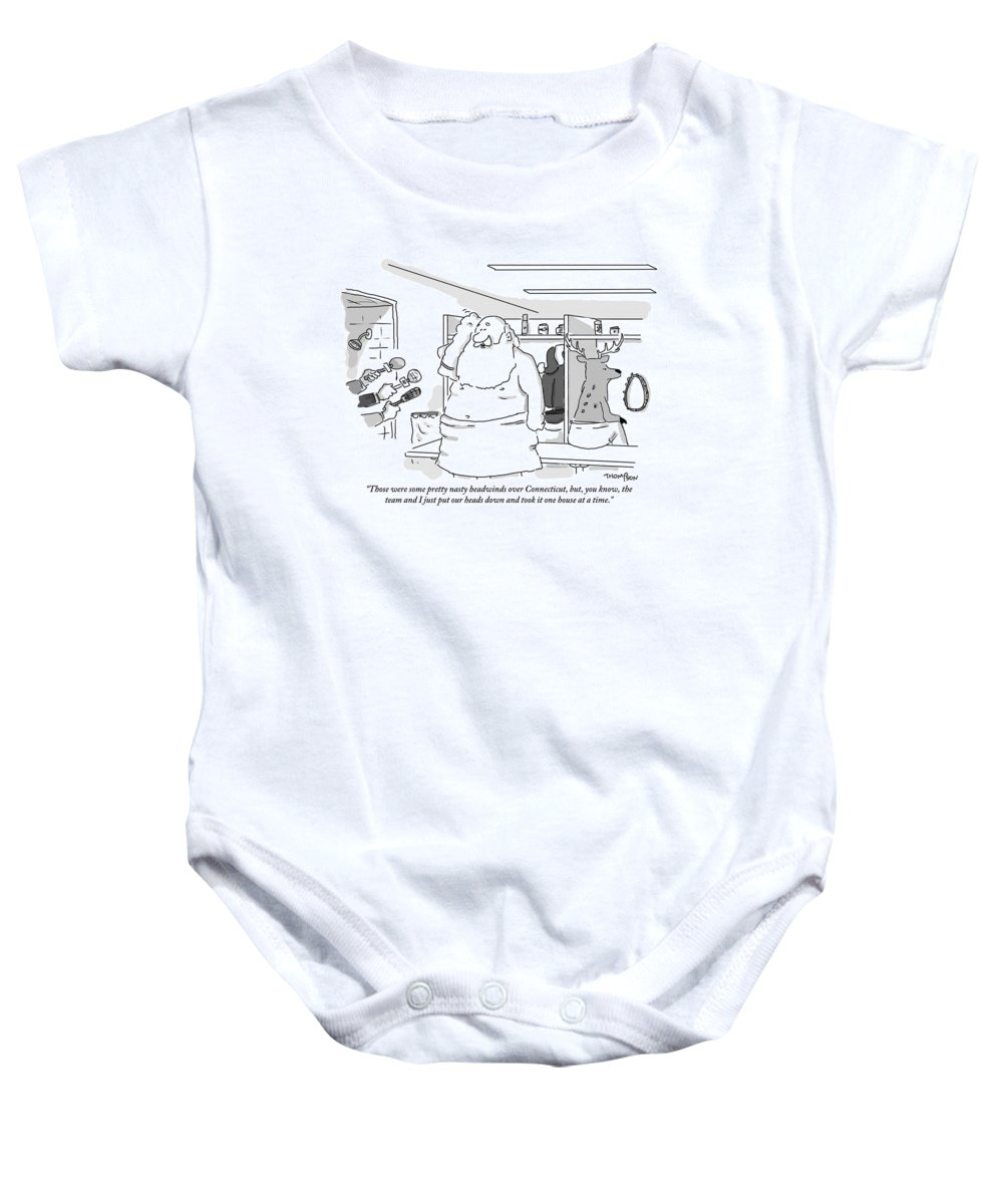 Christmas Baby Onesie featuring the drawing Santa Claus Is In A Locker Room Speaking by Mark Thompson