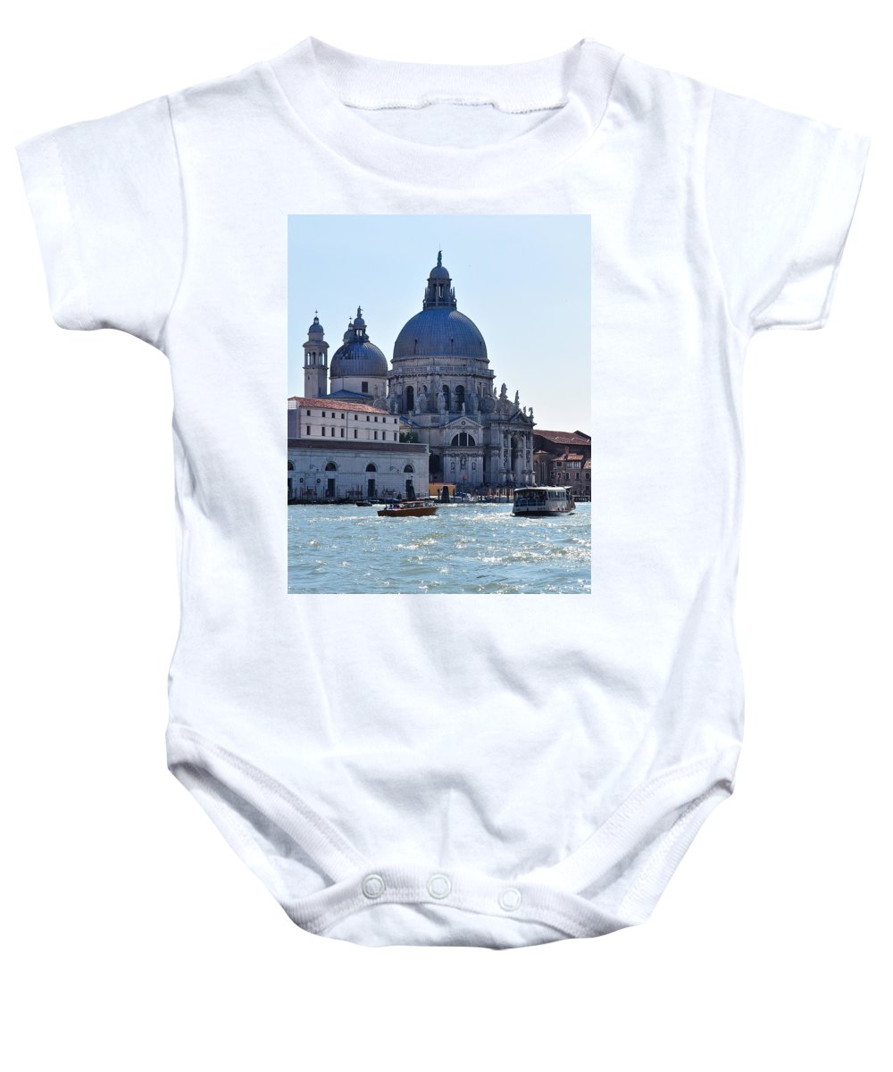 Santa Maria Della Salute Baby Onesie featuring the photograph Santa Maria Della Salute Surrounded By Sparkling Waters by Karen Maxwell