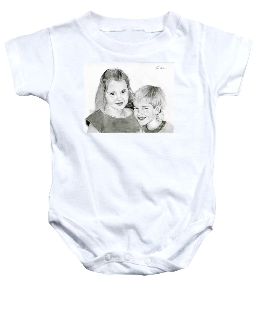 Brother Baby Onesie featuring the drawing Sarah And Matt by Tamir Barkan