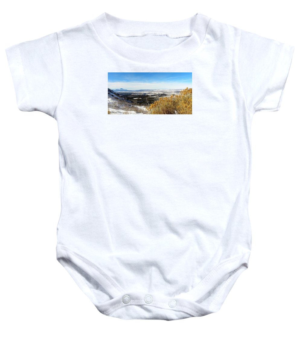 Scenic Vista Baby Onesie featuring the photograph Scenic Vista by Annie Adkins