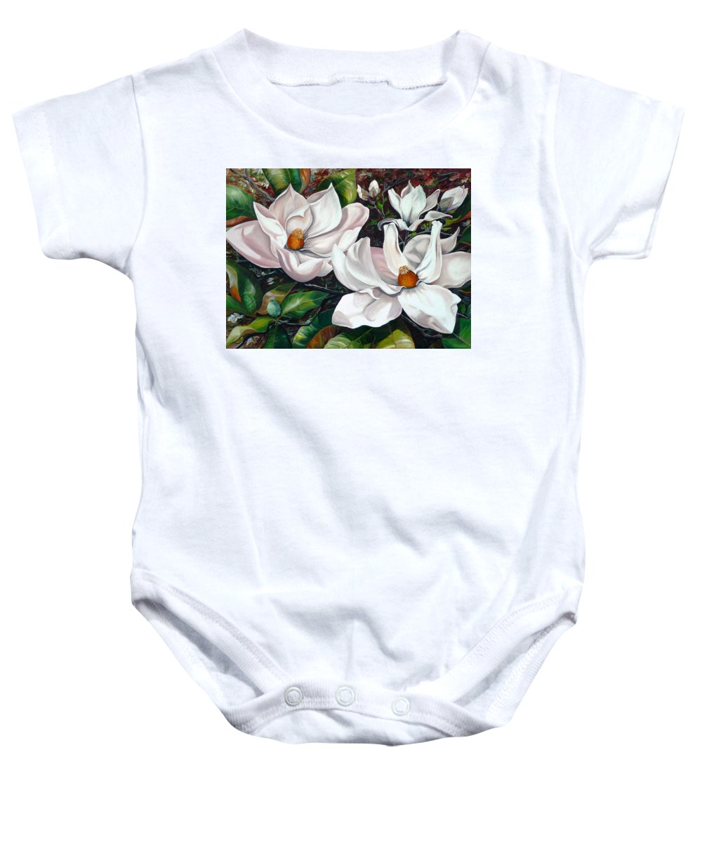 Magnolia Painting Flower Painting Botanical Painting Floral Painting Botanical Bloom Magnolia Flower White Flower Greeting Card Painting Baby Onesie featuring the painting Scent Of The South. by Karin Dawn Kelshall- Best