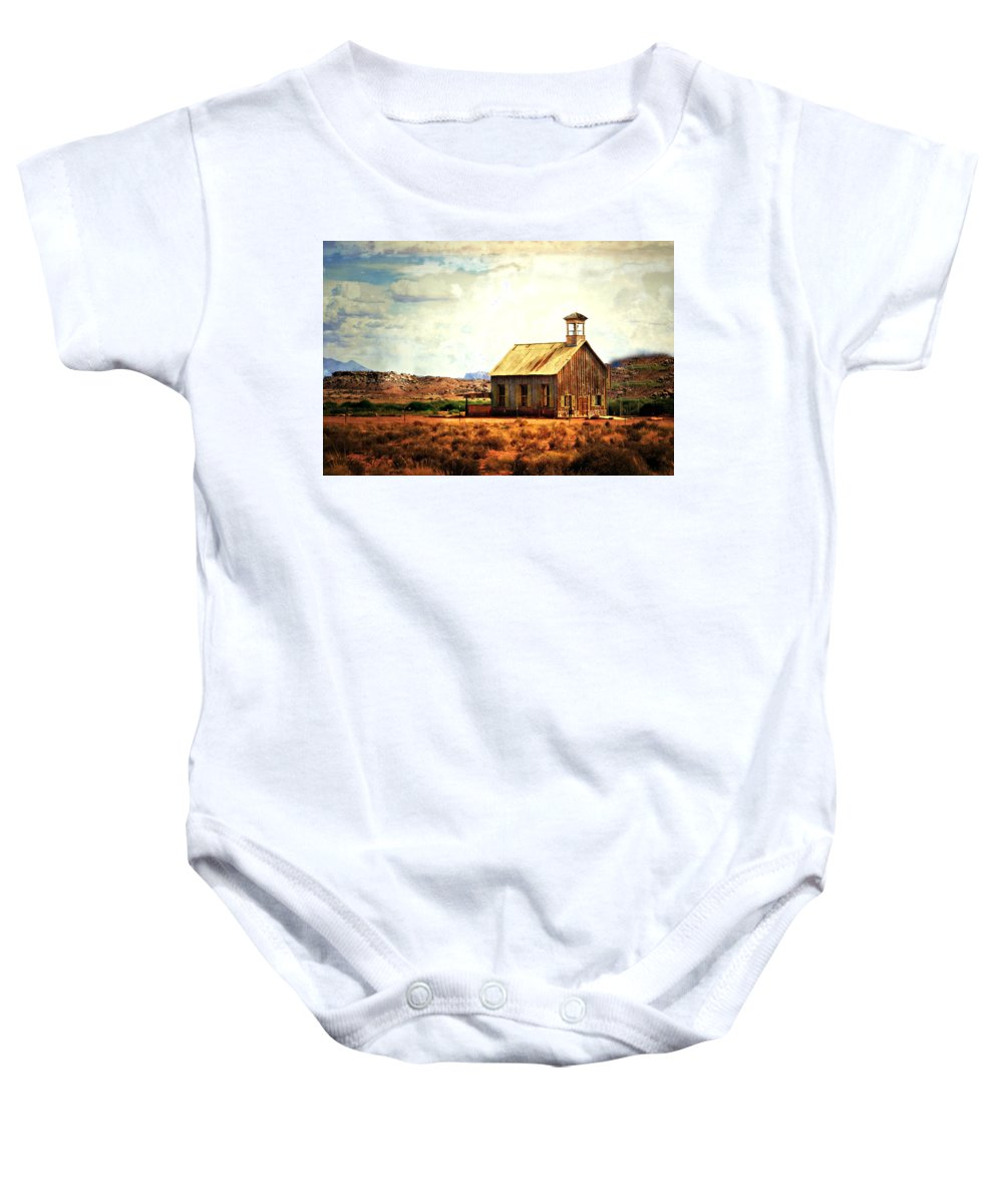 Moab Baby Onesie featuring the photograph Schoolhouse 1 by Marty Koch