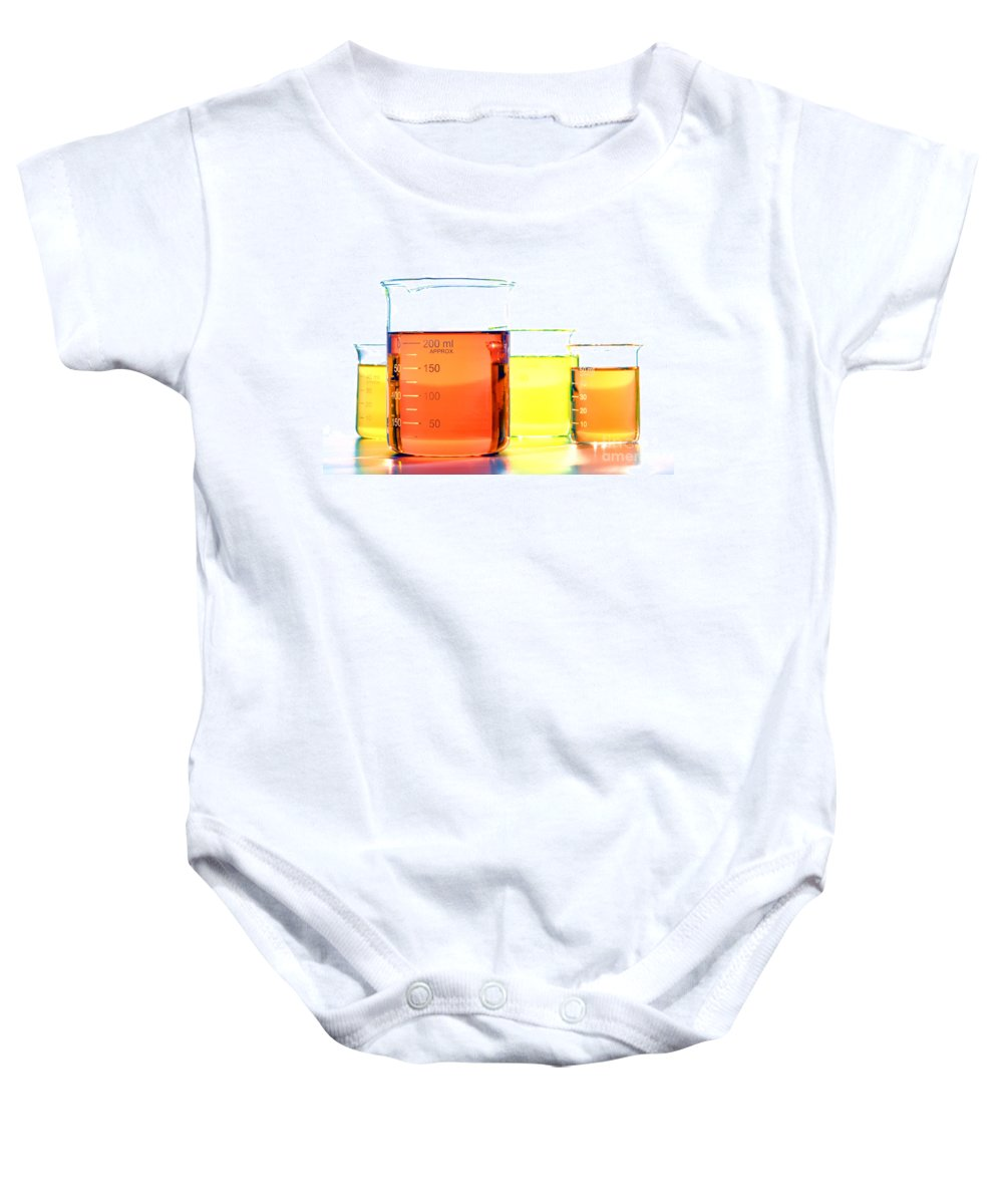 Lab Baby Onesie featuring the photograph Scientific Beakers In Science Research Lab by Science Research Lab By Olivier Le Queinec