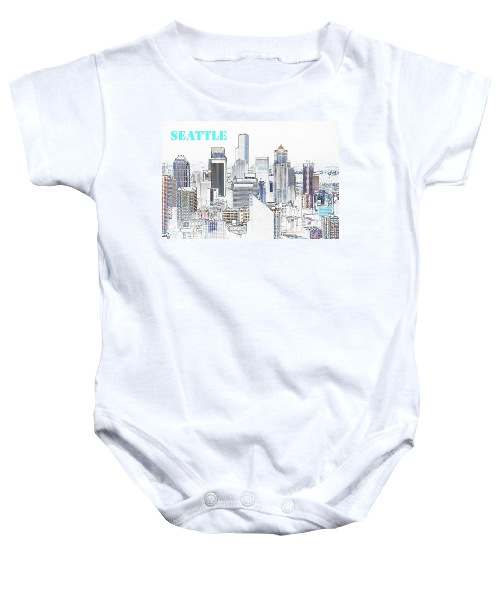 Seattle Washington Baby Onesie featuring the painting Seattle City With Print by David Lee Thompson