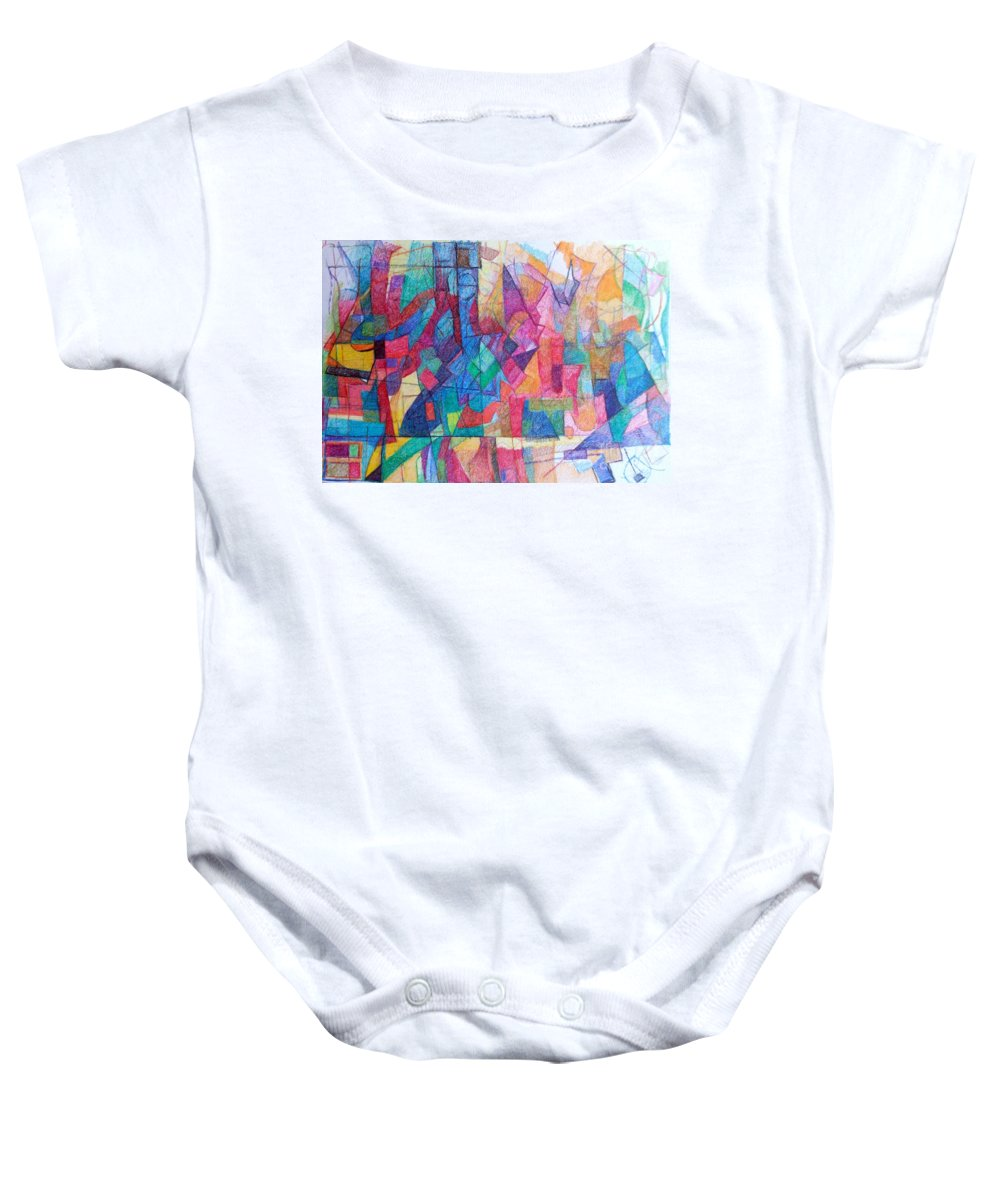 Torah Baby Onesie featuring the drawing Seeking The Path To The Next World 1 by David Baruch Wolk
