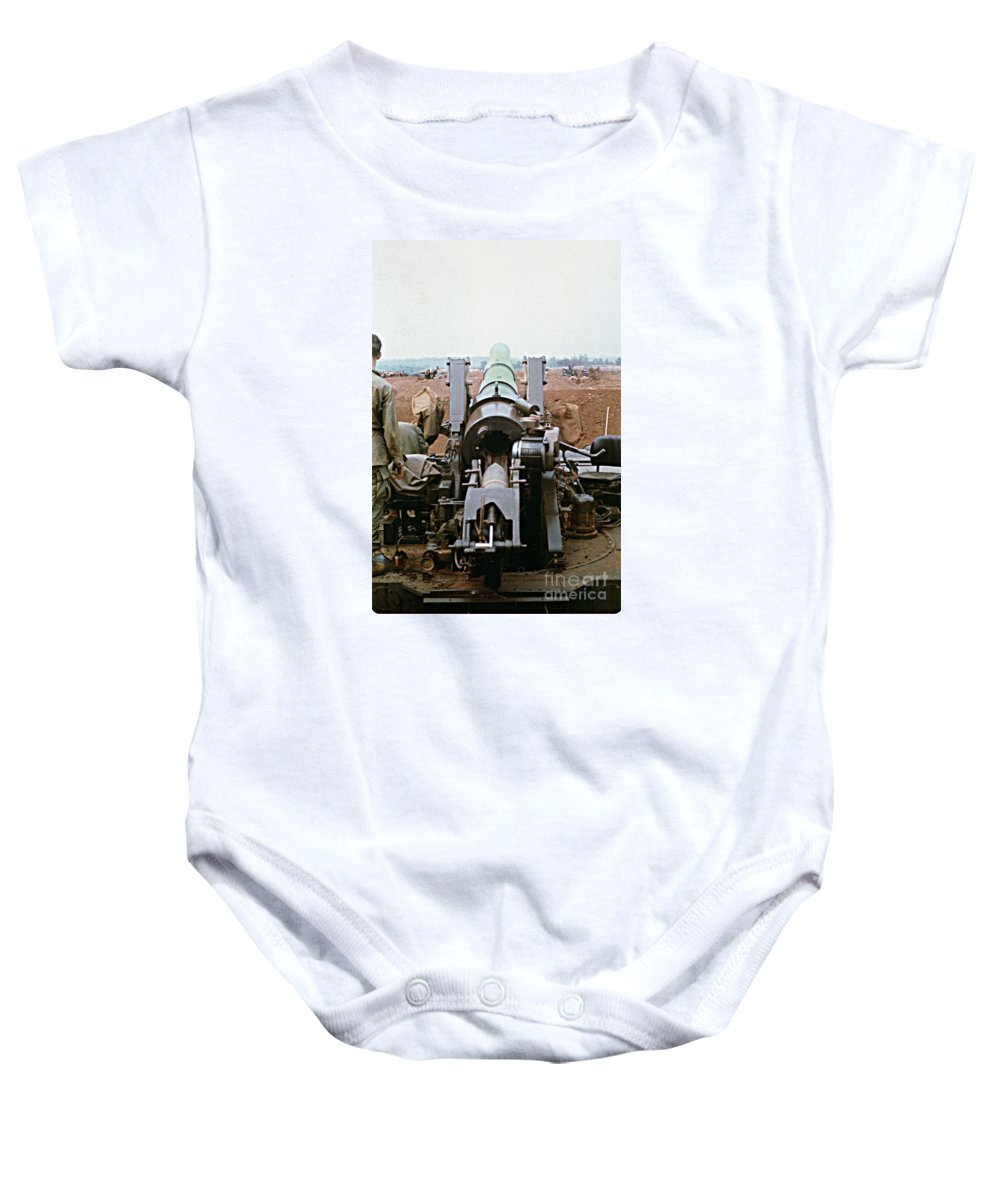 Self-propelled Howitzer Baby Onesie featuring the photograph Self-propelled 8 Inch Howitzer M110 Lz Oasis R V N 1968 by California Views Mr Pat Hathaway Archives