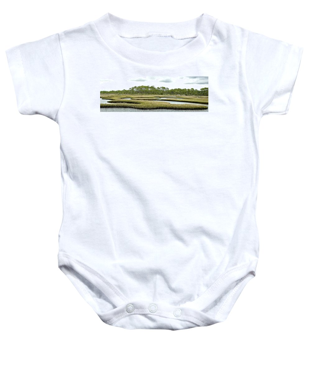 Salt Marsh Baby Onesie featuring the photograph Serpentine Waters by Norman Johnson