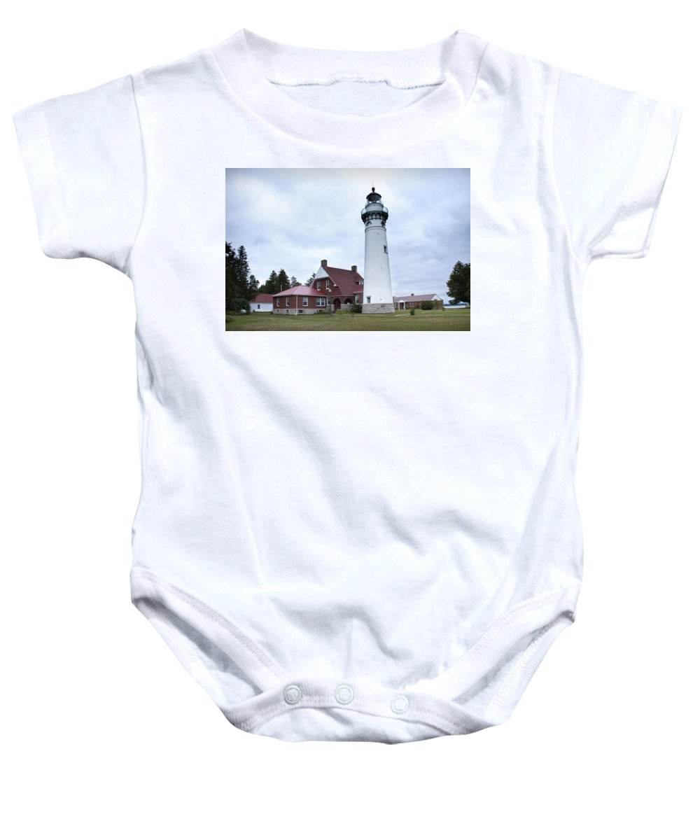 Art Baby Onesie featuring the photograph Seul Choix Point Lighthouse by Randall Nyhof