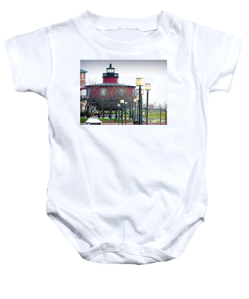2d Baby Onesie featuring the photograph Seven Foot Knoll Lighthouse by Brian Wallace