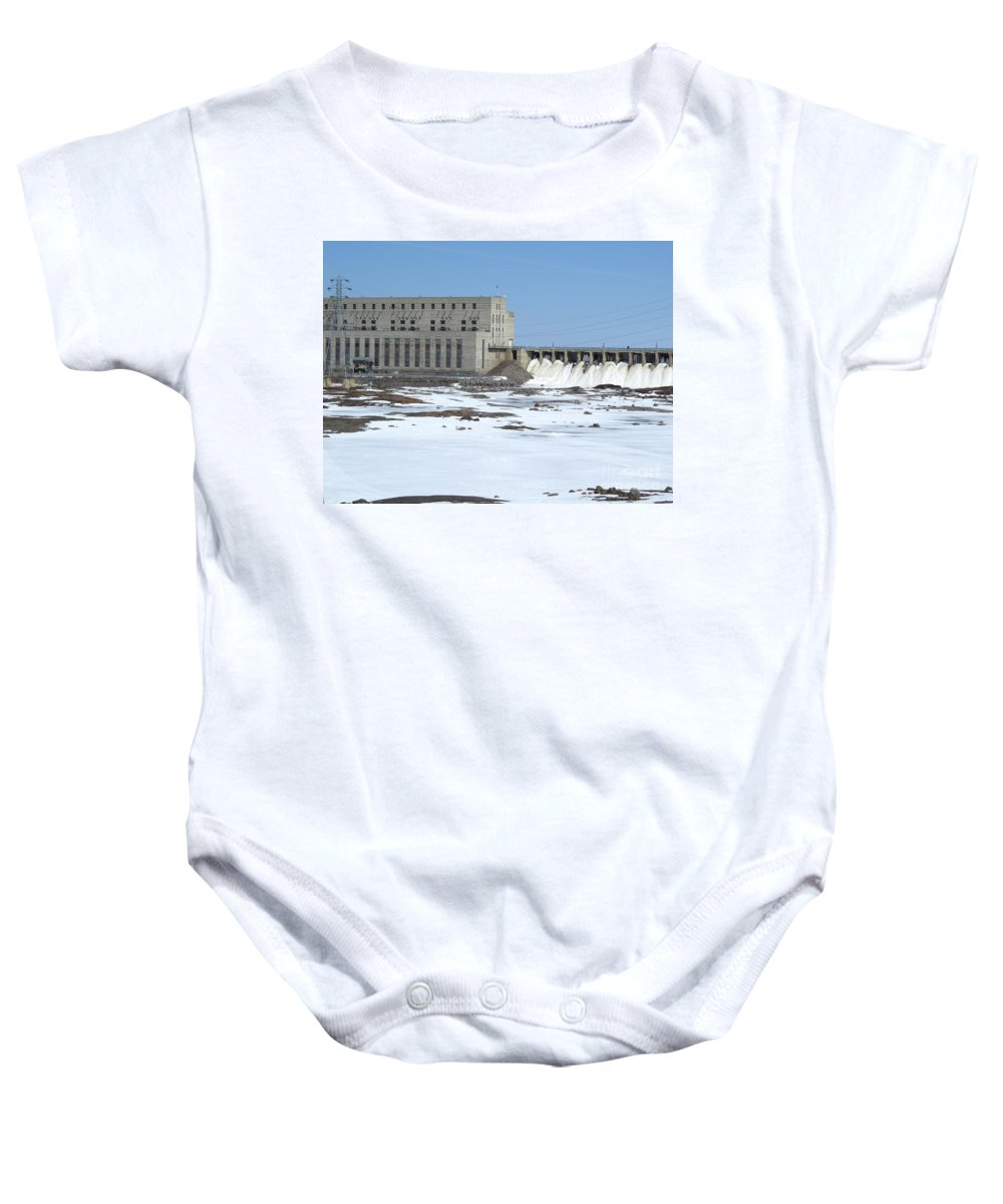 Architecture Baby Onesie featuring the photograph Seven Sisters Falls Damn by Mary Mikawoz