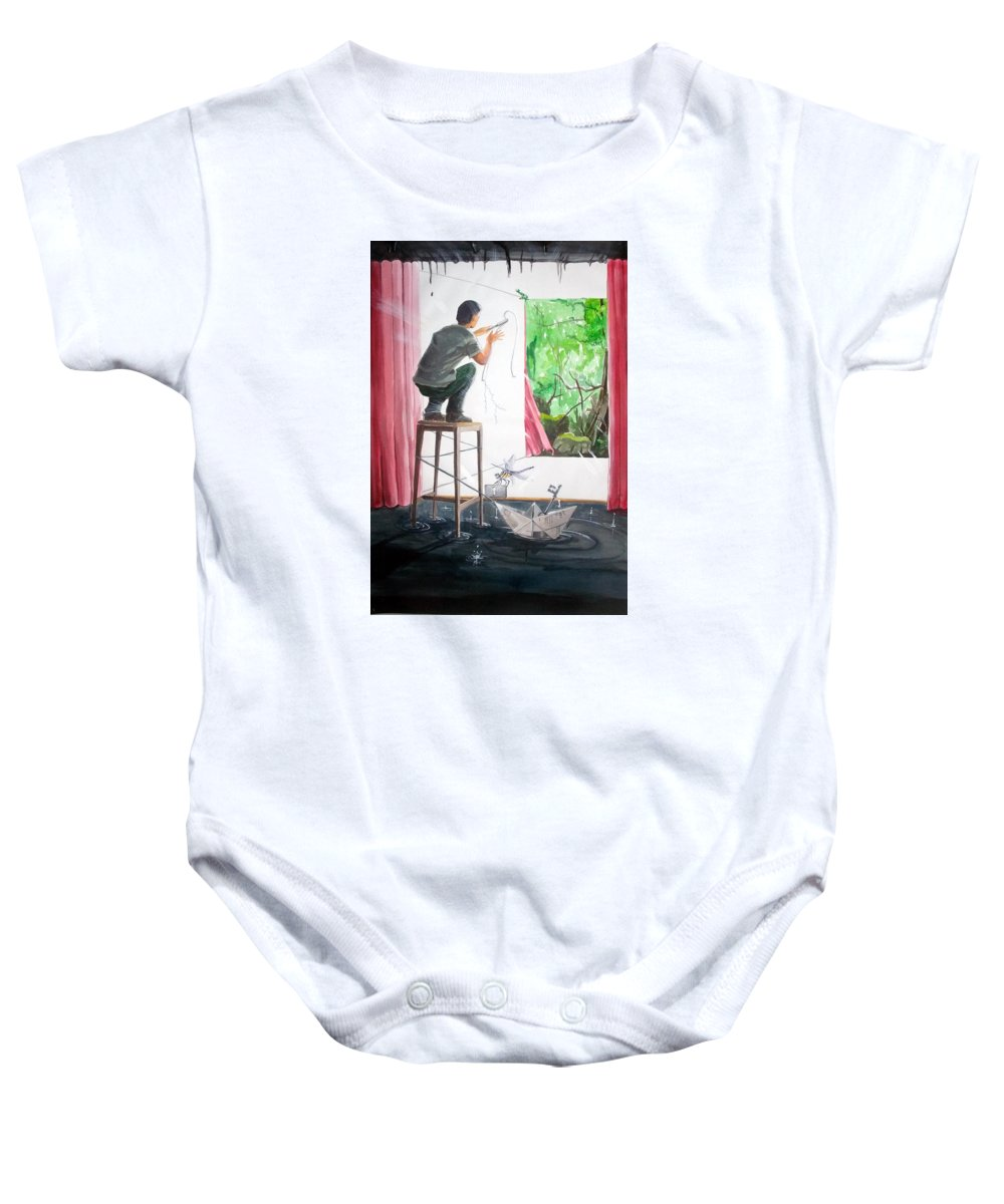 People Baby Onesie featuring the painting Shaping The Peace Listen With Music Of The Description Box by Lazaro Hurtado