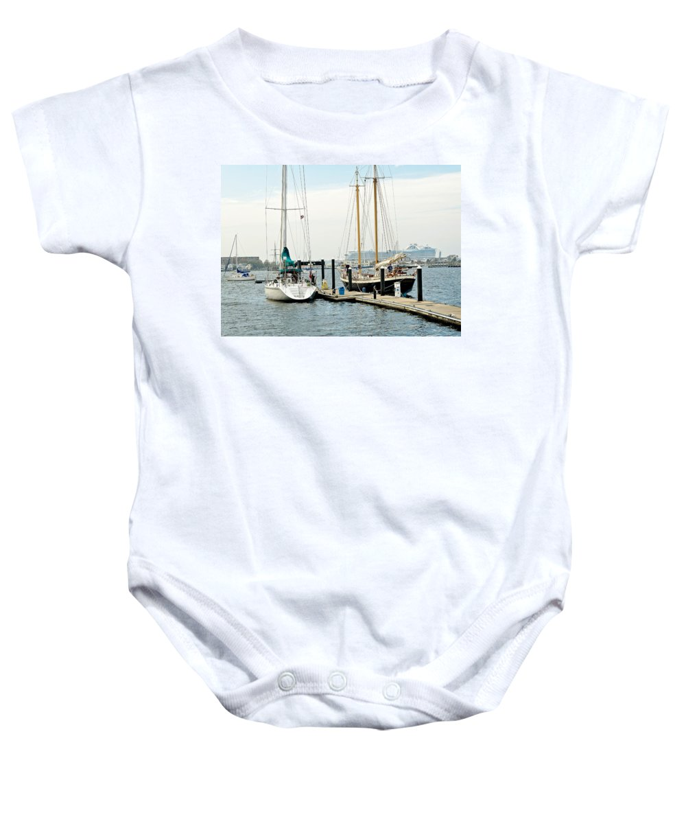 Newport Baby Onesie featuring the photograph Ships In Newport Harbor by Mitchell R Grosky