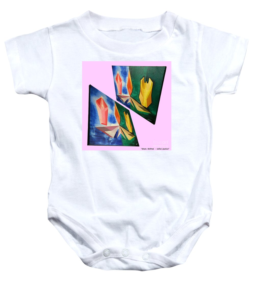 Spirituality Baby Onesie featuring the painting Shots Shifted - Infini-justice 5 by Michael Bellon