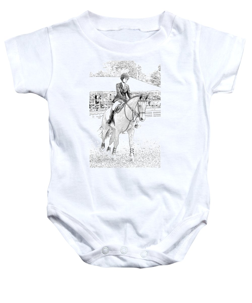 Horse Baby Onesie featuring the photograph Showjumper by Alice Gipson