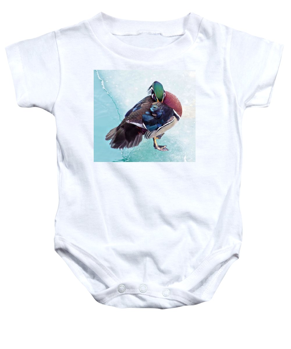 Wood Duck Baby Onesie featuring the photograph Shy Is A Wood Duck by Patti Smith