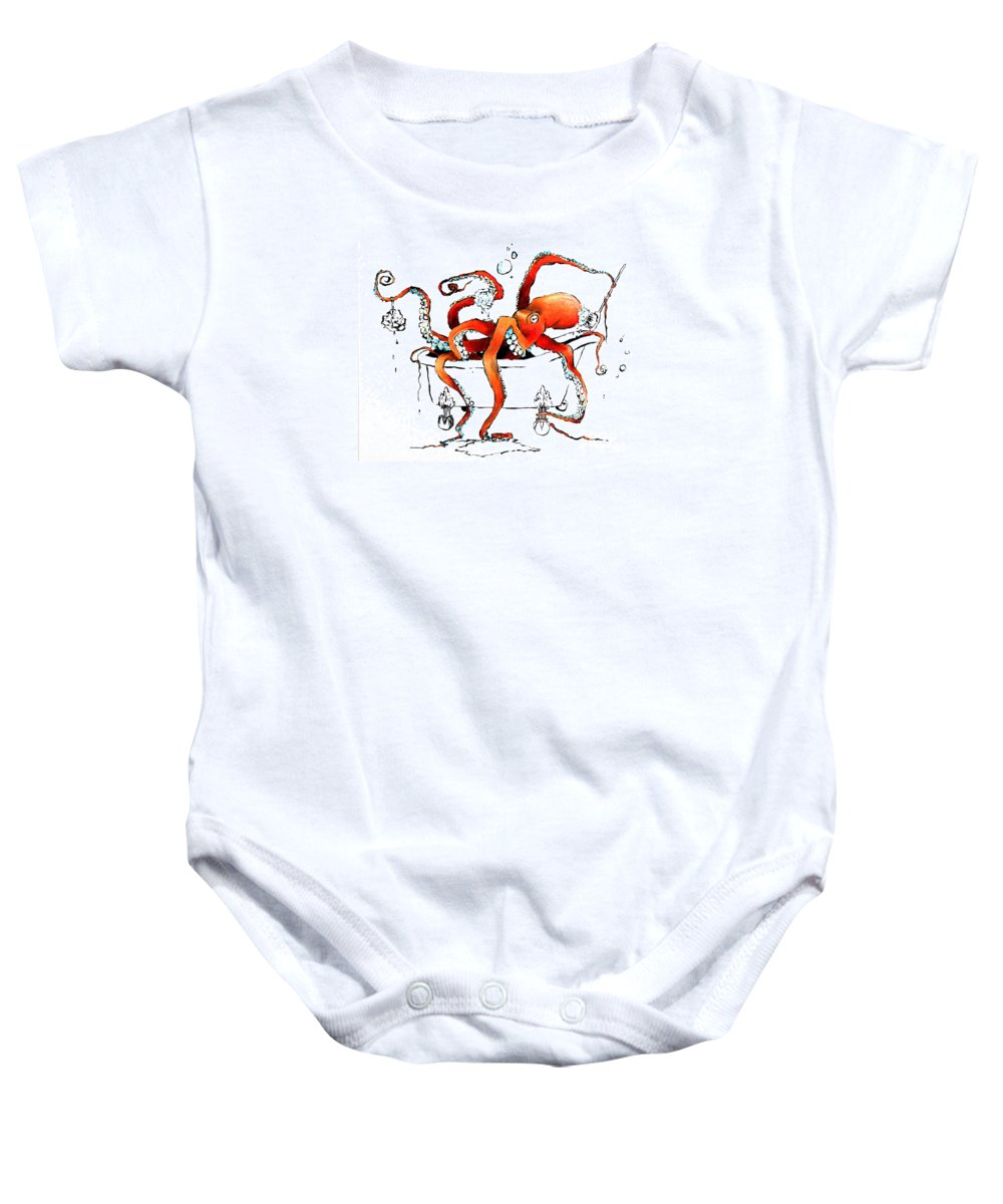 Octopus Baby Onesie featuring the painting Silly Octopus Taking A Bath by Arleana Holtzmann