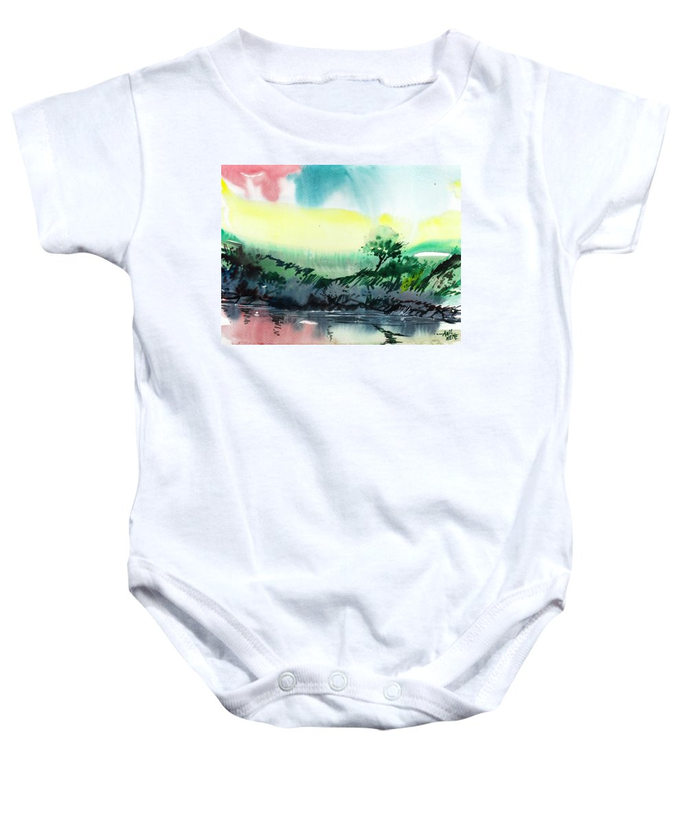 Nature Baby Onesie featuring the painting Sky N Lake by Anil Nene