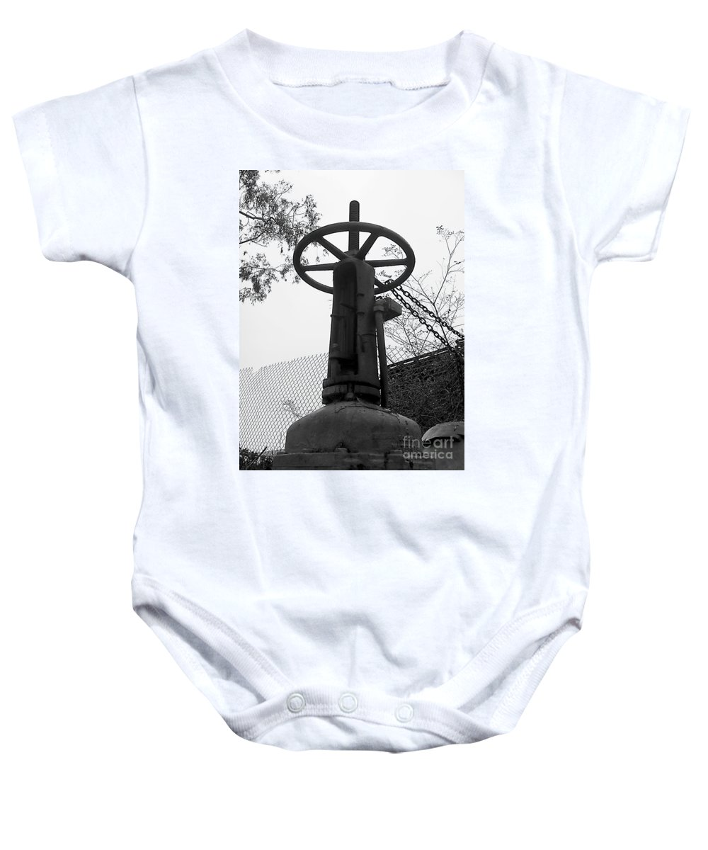 Black And White Photography Baby Onesie featuring the photograph Sky Opener by Fei A
