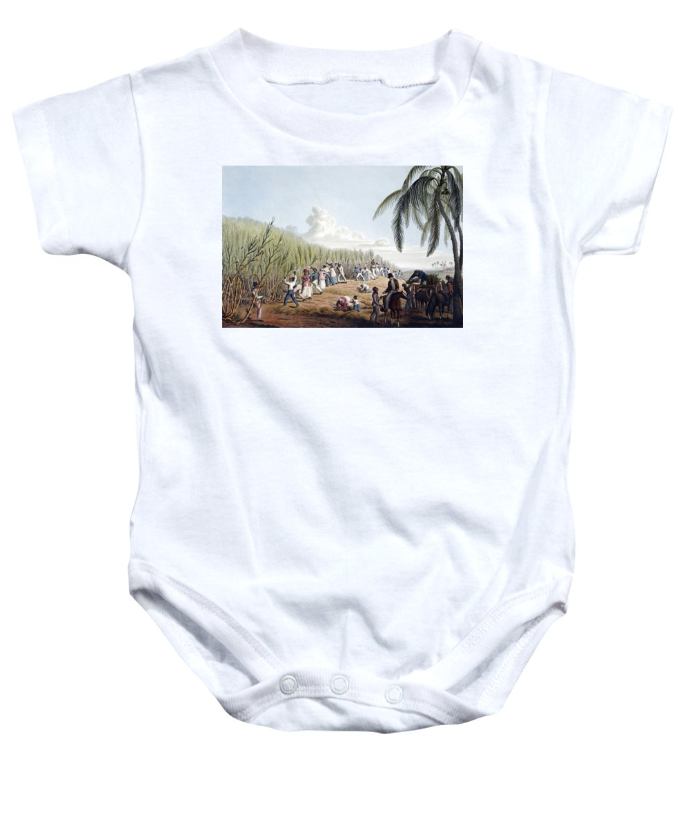 Slave Trade Baby Onesie featuring the photograph Slaves Cutting Sugar Cane, 19th Century by British Library