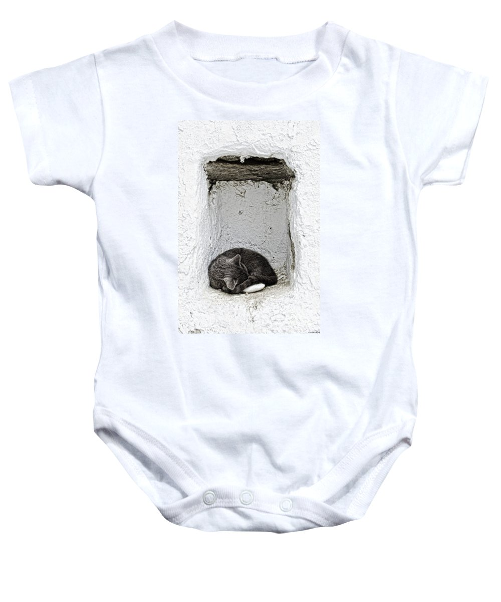 Cat Baby Onesie featuring the photograph Sleeping Cat by Paul and Helen Woodford