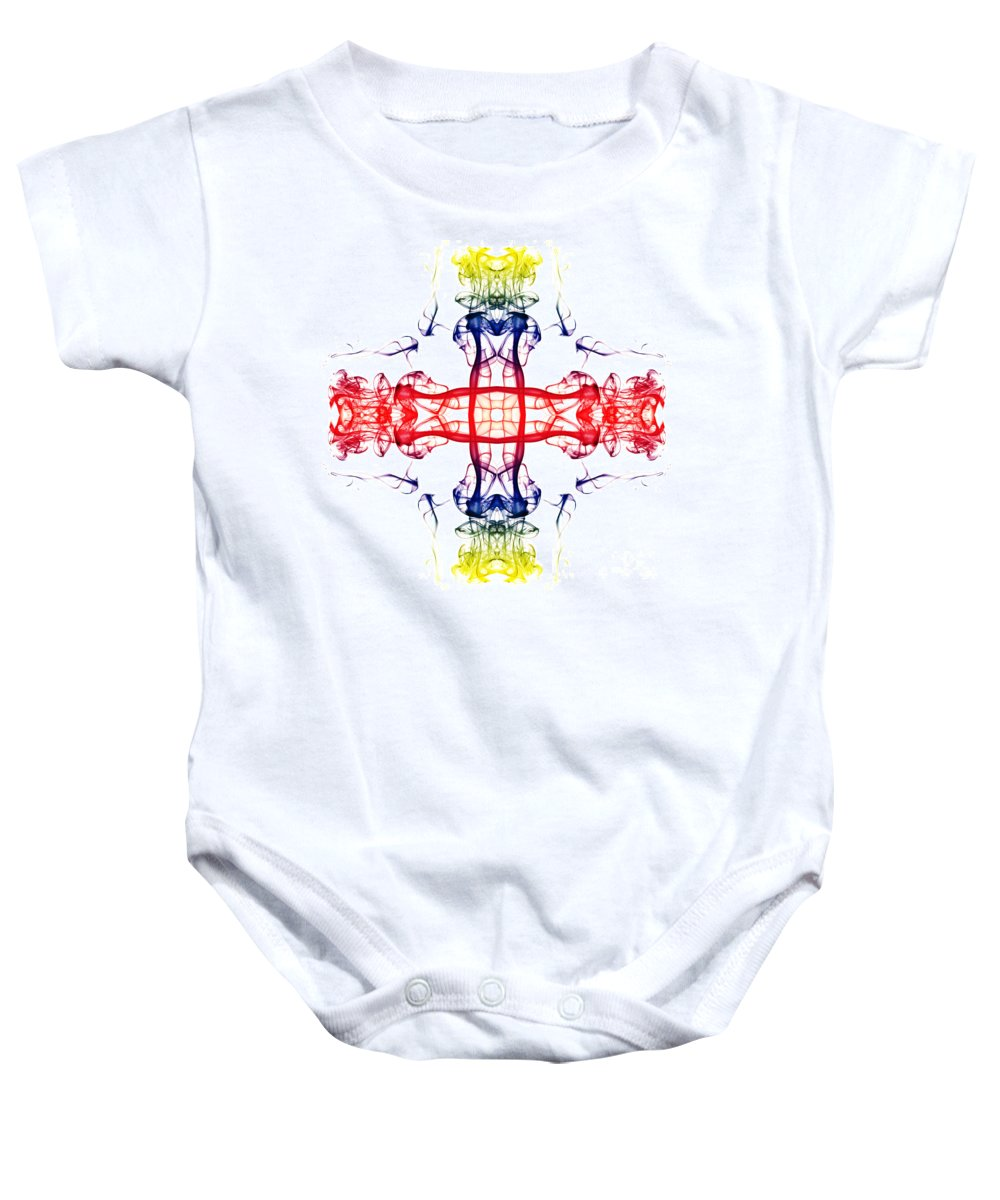 Smoking Trails Baby Onesie featuring the photograph Smoke Cross 4 by Steve Purnell