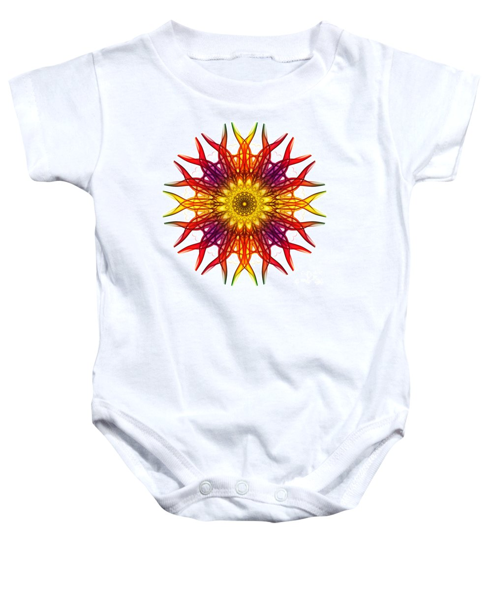 Mandala Baby Onesie featuring the photograph Smoke Mandala 5 by Steve Purnell