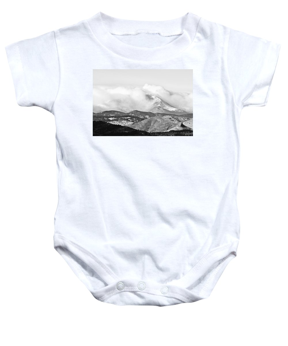 Colorado Baby Onesie featuring the photograph Snow Storm On The Twin Peaks Longs And Meeker by James BO Insogna