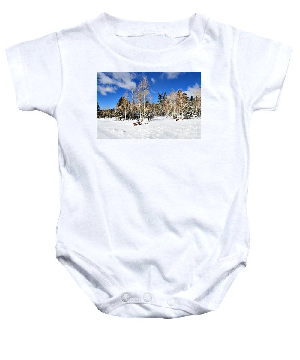 Snow Baby Onesie featuring the photograph Snowy Aspen Grove by Donna Greene
