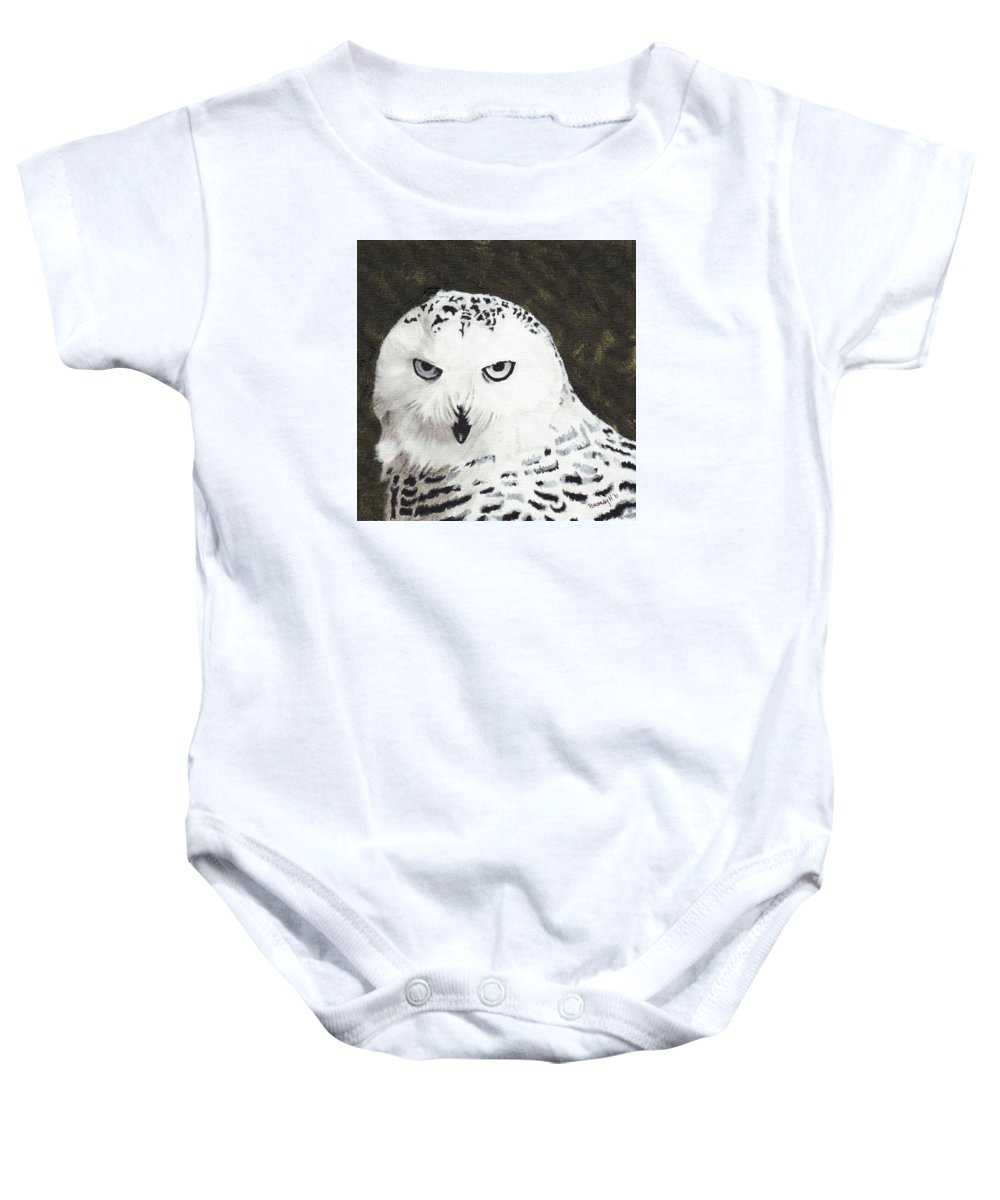 Birds Baby Onesie featuring the painting Snowy Owl by Brandy House